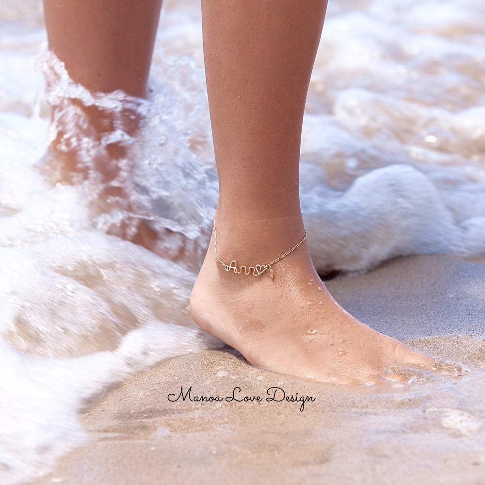 plate mini d bracelets ankle petit down name anklet