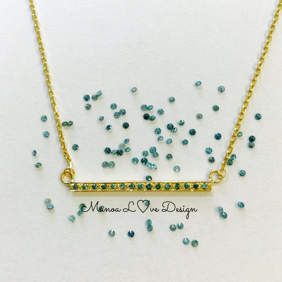 Image of blue diamond bar necklace