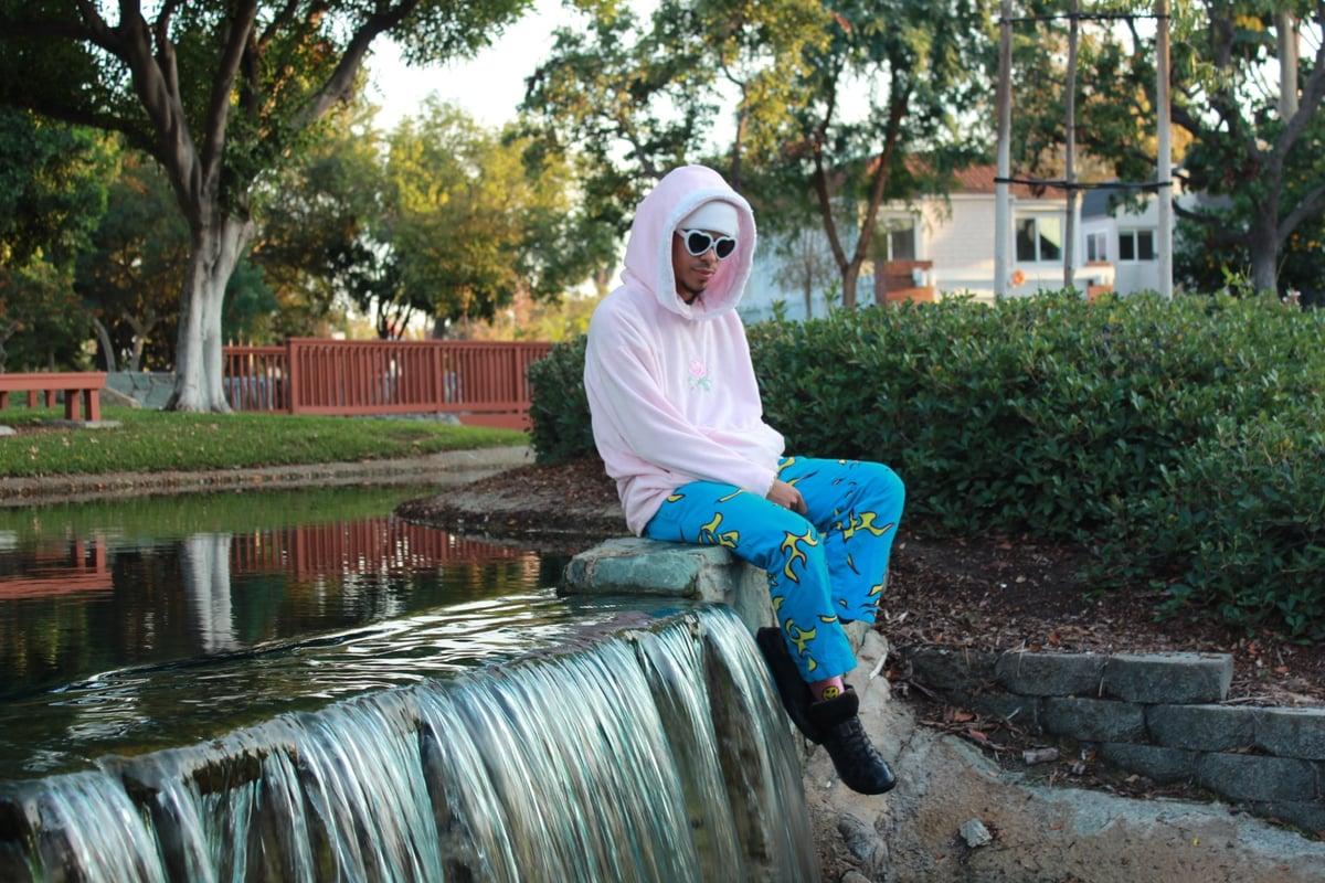 Image of Pastel Pink Fleece/Fur Rose Hoodie