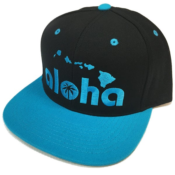 Image of Aloha Snapback Hat, Black with Turquoise Blue