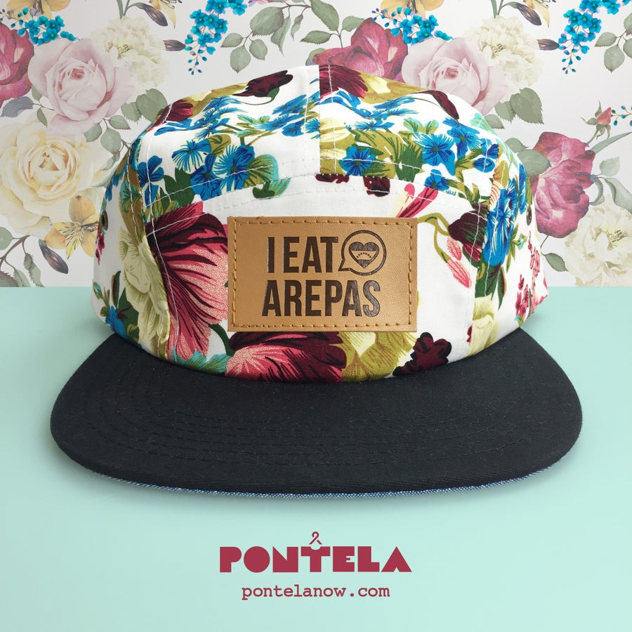 Image of I Eat Arepas Leather Golden Flowers