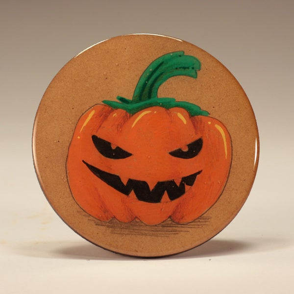 Image of Handmade 4 inch Round 'Angry Squash' Coaster