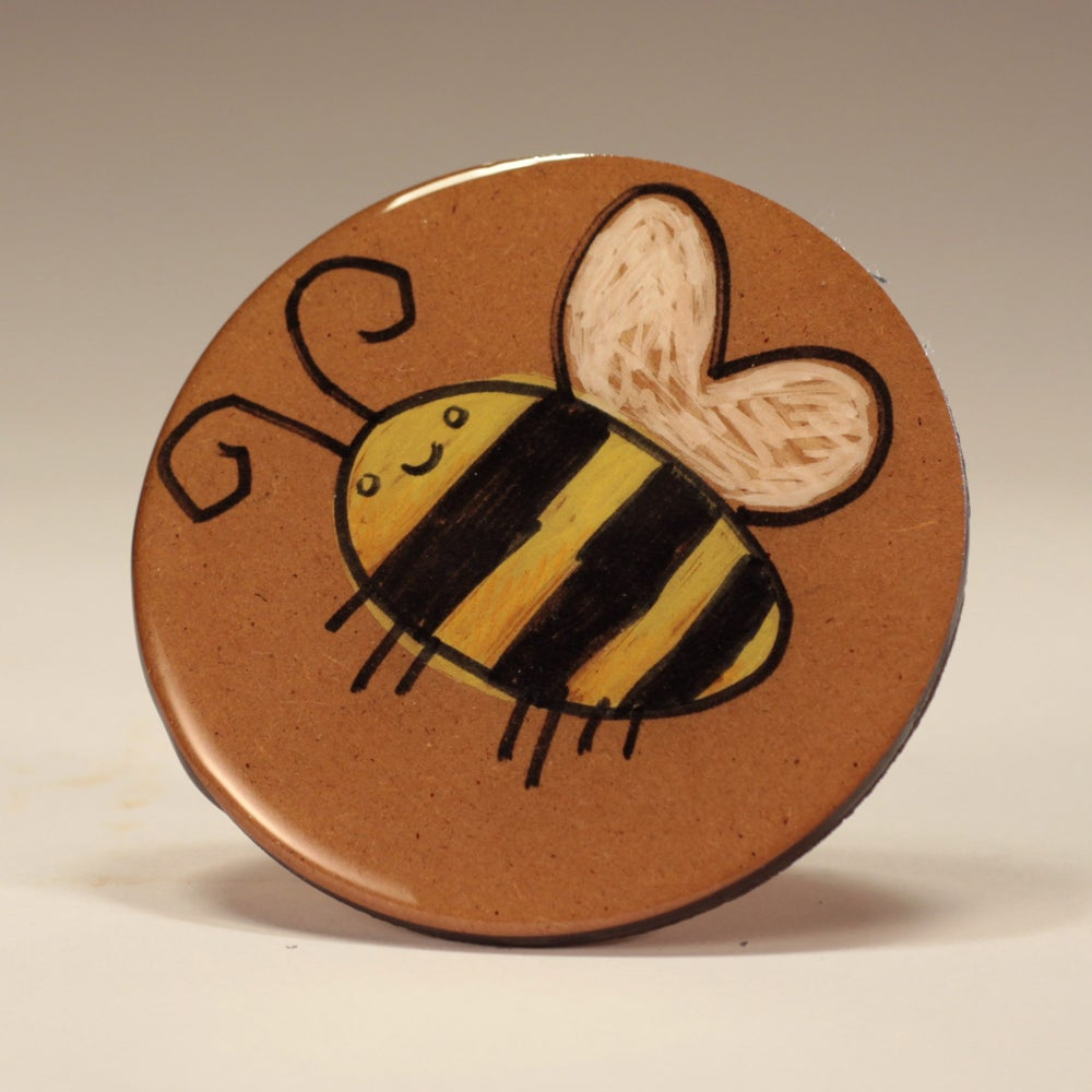 Image of Handmade 4 inch Round 'Thirsty Bee' Coaster