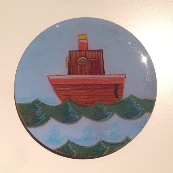 Image of Handmade 4 inch Round 'Bobbin' Along' Coaster