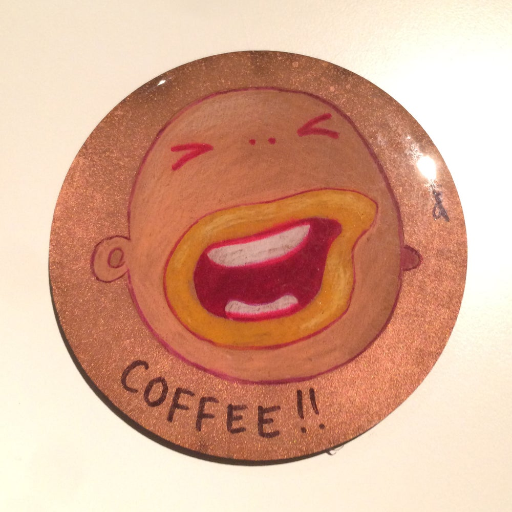 Image of Handmade 4 inch Round 'Not Before Coffee!!!!' Coaster