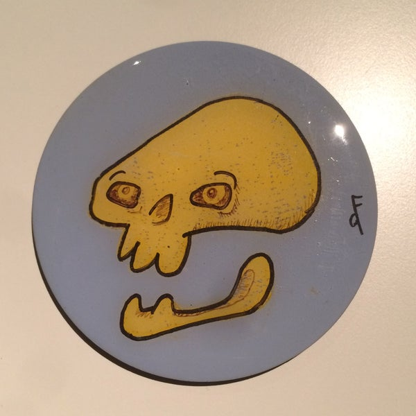 Image of Handmade 4 inch Round 'Yellow Skull' Coaster