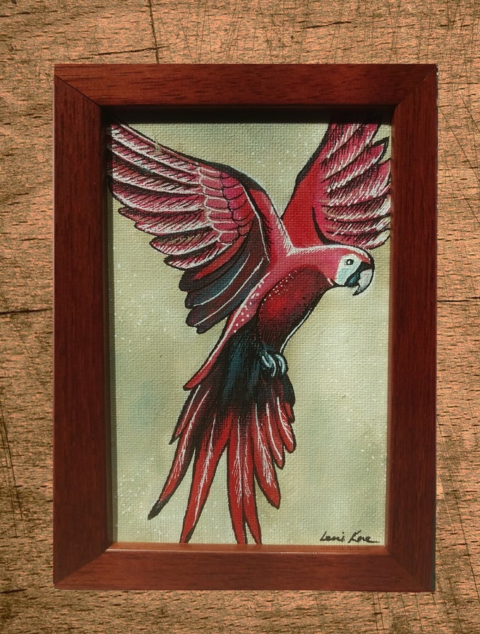 Image of Original Painting: Red Macaw (Mini Art)
