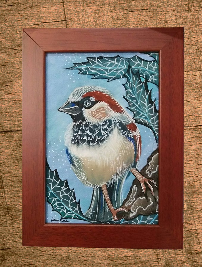 Image of Original Painting: House Sparrow (Mini Art)