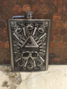 Image of All seeing skull flask