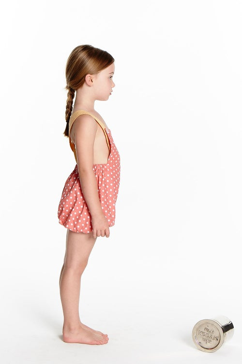 Image of Vintage Clancy Romper - Peach Polka