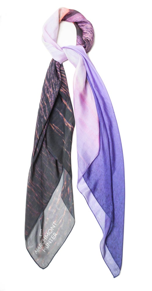 Image of Hudson Sunset Silk Chiffon Scarf