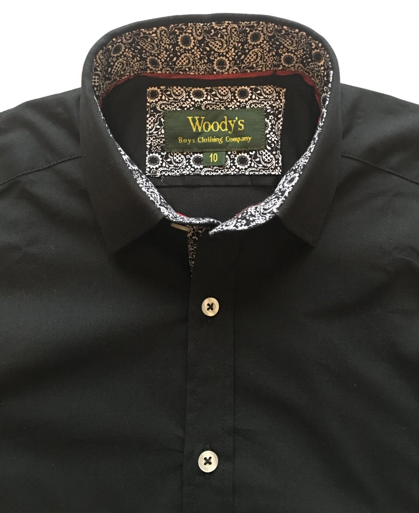 Image of Black w/Paisley Print Party Shirt