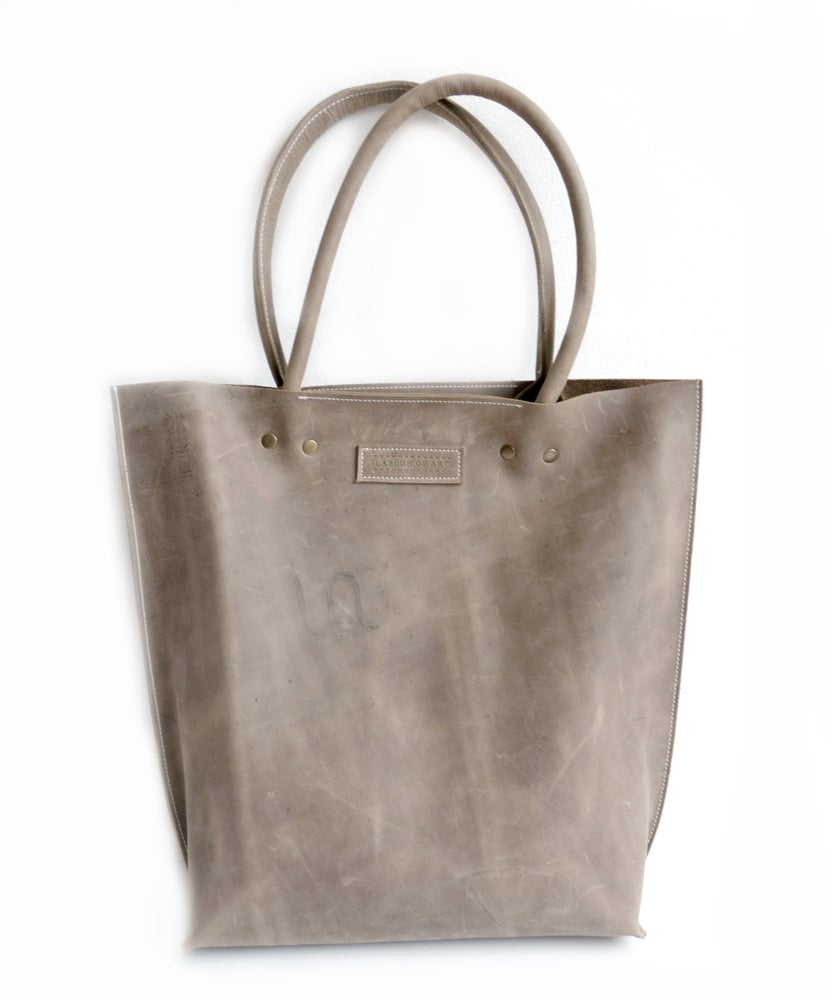 Image of Gray Distressed Leather Shopper