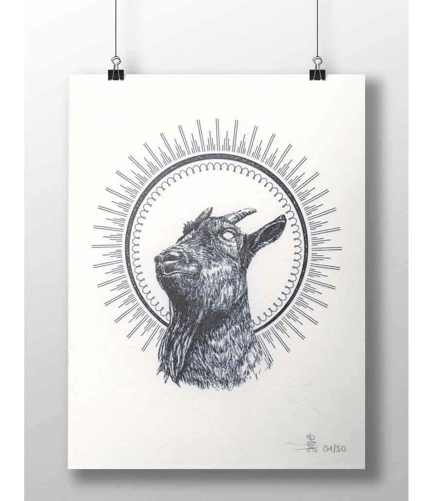 "Image of ""Goat bless you"" letterpress art print"