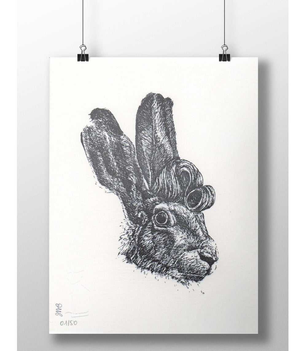 "Image of ""Hare-brushed"" letterpress art print"