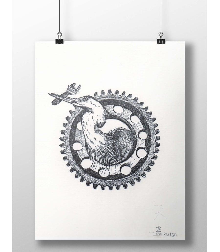"Image of ""Working class heron"" letterpress art print"