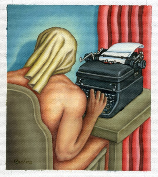 Image of Typewriter Man painting (for Playboy)