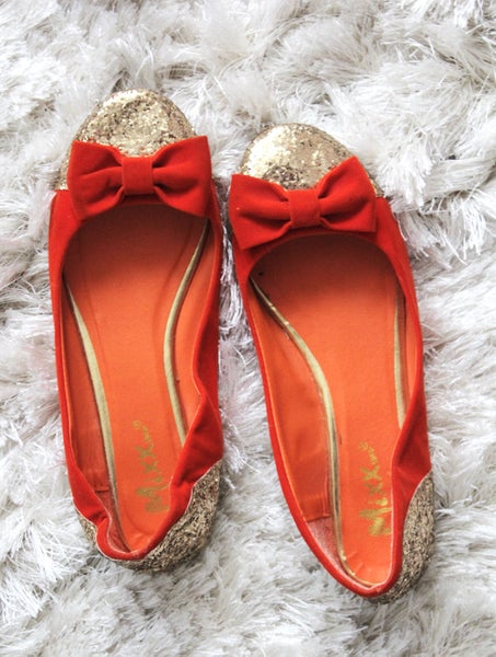 Image of Red/Orange Velvet Glitter Shoes