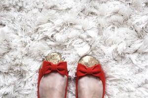 Image of Red/Orange Velvet Glitter Shoes
