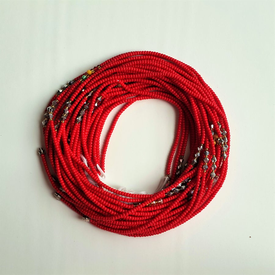 Image of Red African waist beads with silver bicones