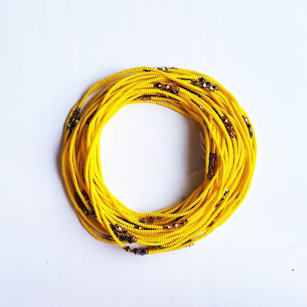 Image of Yellow & bronze African waist beads