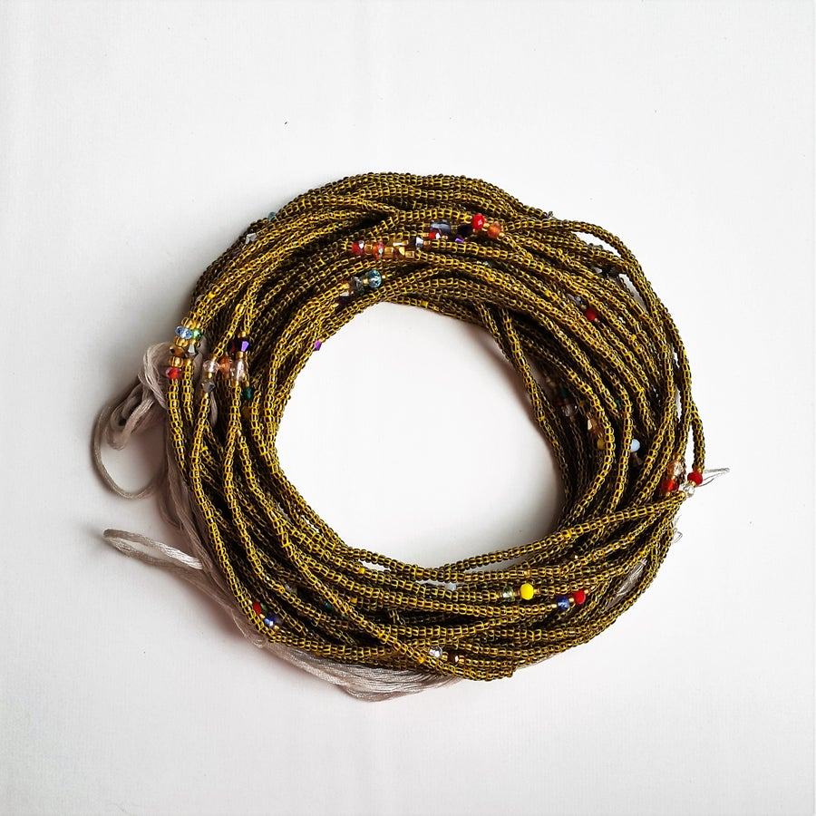 Image of Black & Yellow stripe African waistbeads