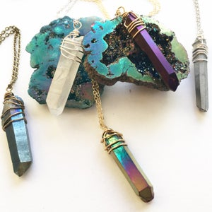 Image of Mystic Necklaces - Large Aura Quartz Crystal