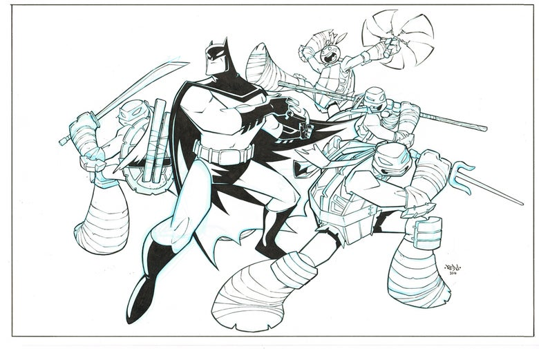 Image of ORIGINAL ART - Batman TMNT Adventures 6 Cover