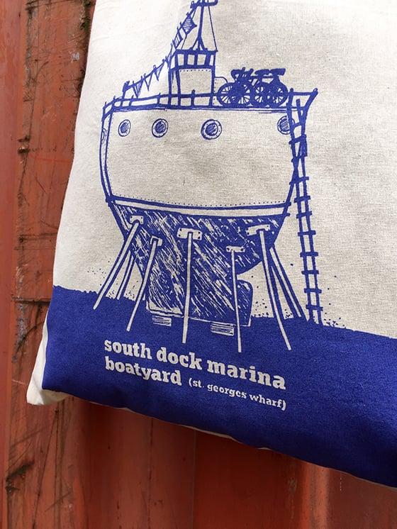 Image of Illustrated Boat Tote Bag—South Dock Marina