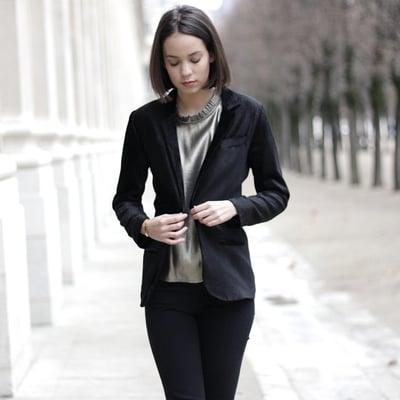 Veste Inès velours noir - Maison Brunet Paris