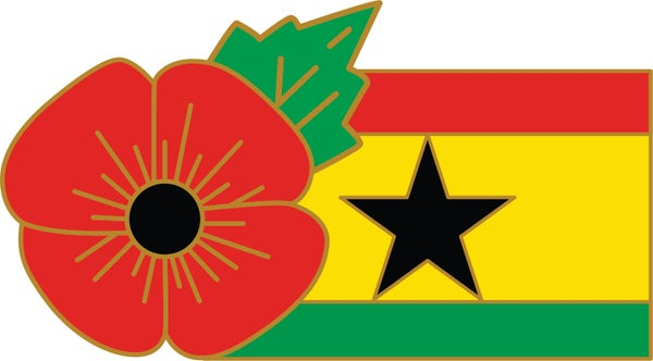 Image of GHANA (BLACK STAR) FMN Poppy/Flag Combo Medal (28mm x 15.5mm)