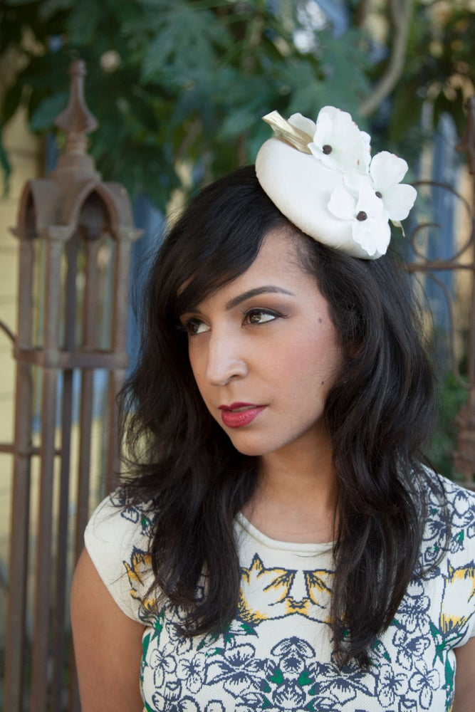 Image of Enchanted April -- Vintage Style Silk Pillbox Fascinator with Dogwood Flowers & Gold Leaves
