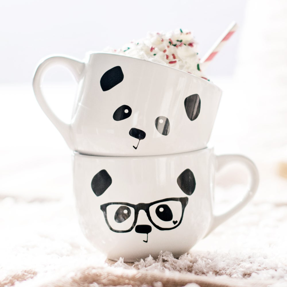 Image of Panda Face / Nerdy Panda Ceramic Soup Mug