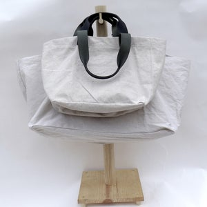 Image of CARRYALL / Canvas & Black Leather Small & Large