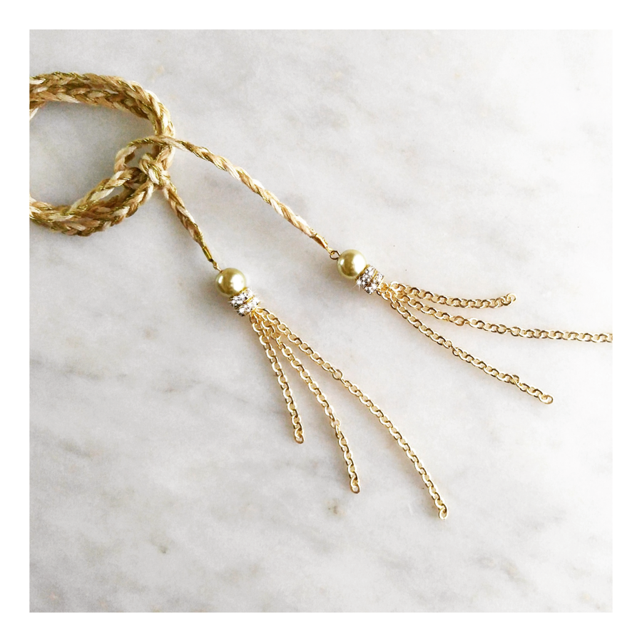 Image of Braided Wrap Choker · Golden Pearl
