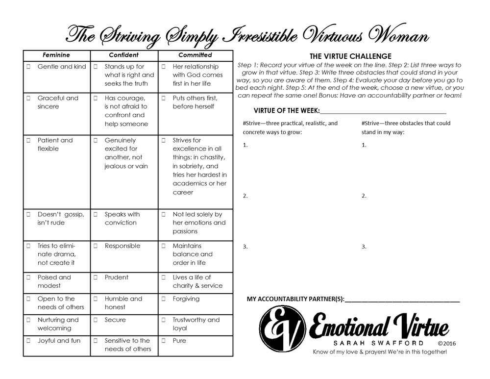Image of Virtue Challenge Laminated Sheet (For Women - Men on Flip Side)