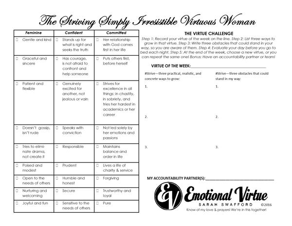 Image of Virtue Challenge Laminated Sheet (For Women - Men on Flip Side)