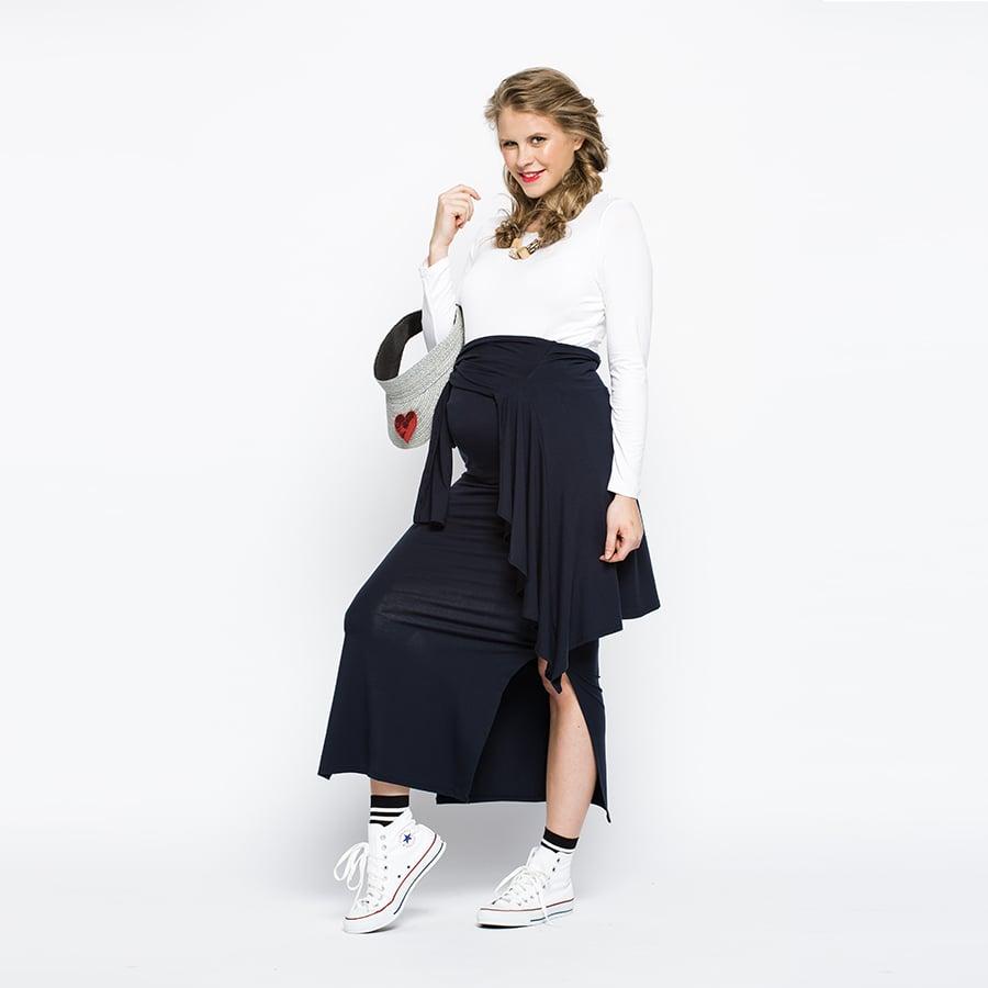 Image of Navy Split Skirt