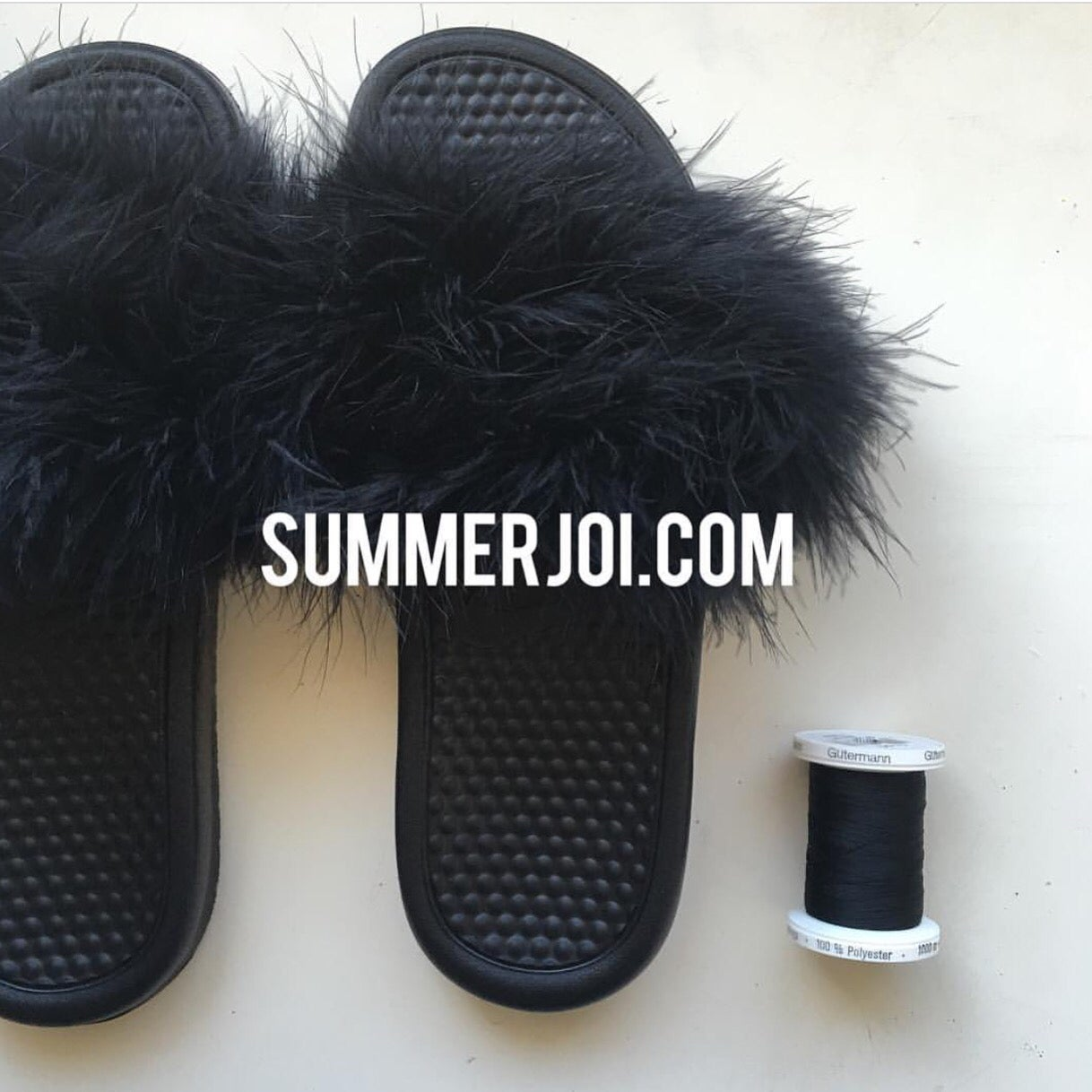 3f3046ec2ff8f Image of Black Faux Fur Nike Slides by Summer Joi ...