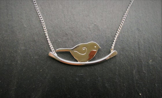 Image of Robin on a branch necklace