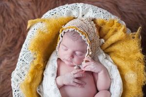 Image of ~Mustard & Lace Upcycled Bonnet~ size 0-1 m.