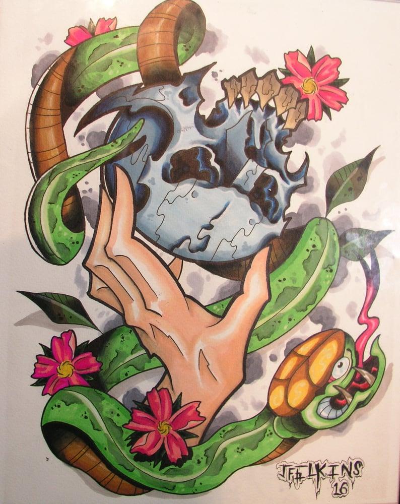 Image of Skull N Snake (print)