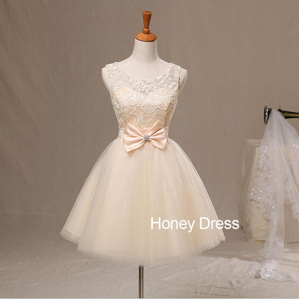 Image of Nude Lace Tulle Ball Gown Cocktail Dress With Bow