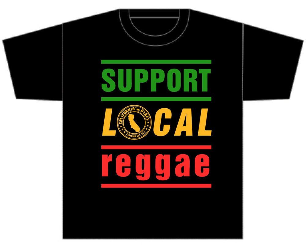 Image of SUPPORT LOCAL REGGAE CLASSIC BLACK SHIRT
