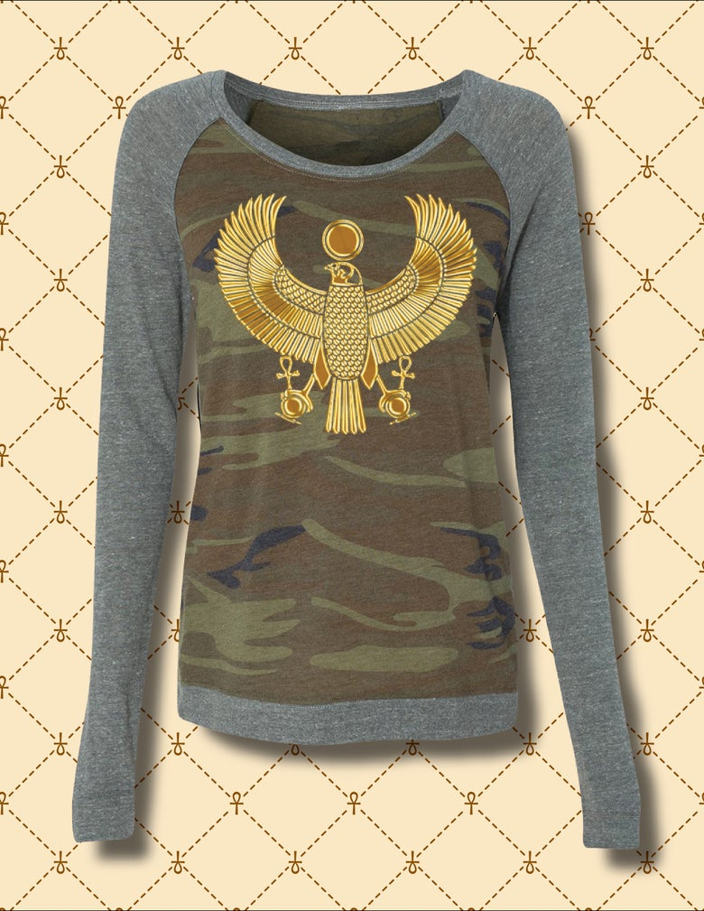 Image of Womens Gold HRU Camo Raglan Jersey
