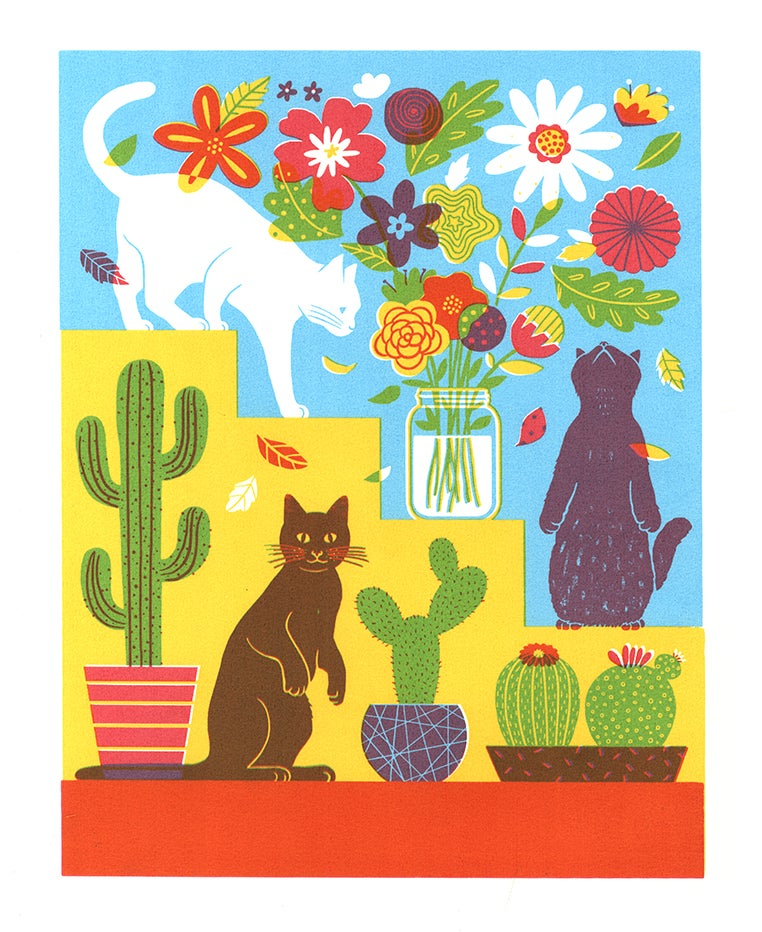 Image of Cats, Flowers, and Cactus