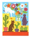 Cats, Flowers, and Cactus