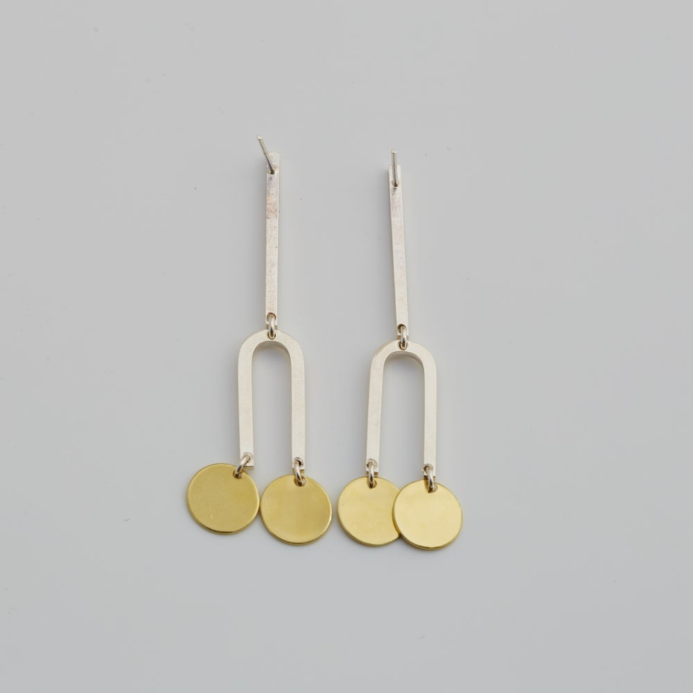 Image of Line Arch Circle Earrings - Sterling silver and Brass