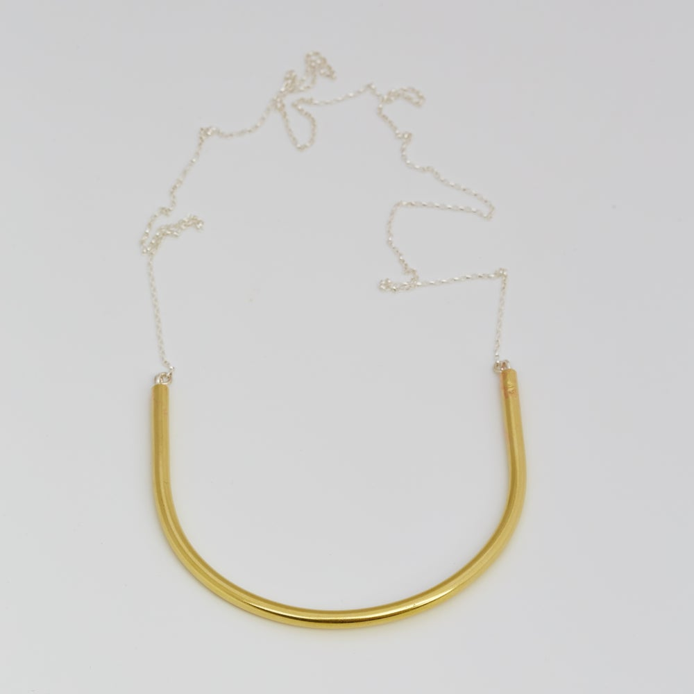 Image of Medium U Necklace, short sterling silver chain with clasp