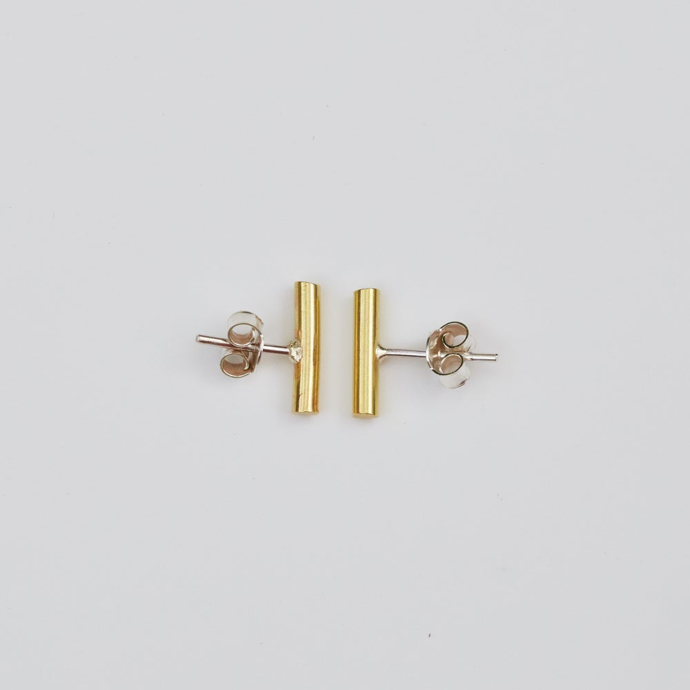 Image of Short Bar Studs - Brass and Sterling silver